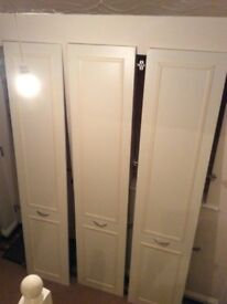 Set of 3 quality cream wardrobe doors