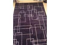 Large, modern, very thick, purple wool rug