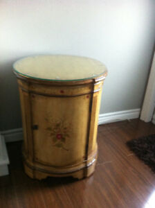 Accent table with glass top and storage inside
