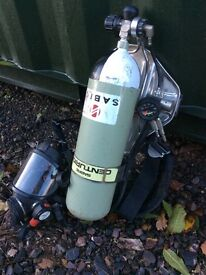 Sabre breathing apparatus mask and set asbestos can post