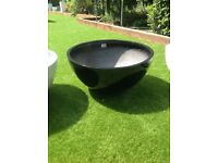 Black fibreglass 72cm diameter low bowl planter/pond in a pot