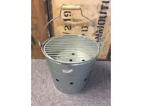 Galvanised Bucket Barbecue with wooden carry Handle Portable BBQ Great for Beach / Garden / etc New