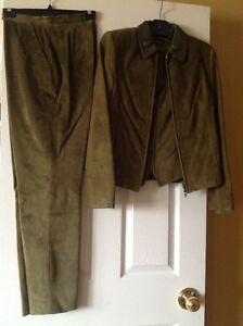 Danier olive green suede suit