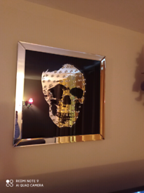 Skull mirrored photo clock and mirror