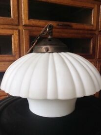 4 Vintage Antique Industrial Opaline Milk Glass Holophane Light Lights