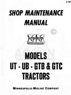 Minneapolis Moline Ut Ub Gtb Gtc Shop Service Manual
