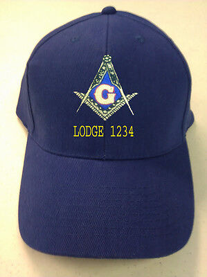 Embroidered  Mason Masonic Cap With Logo And Lodge Number Only  Free Shipping