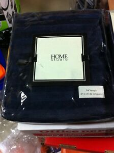 BRAND NEW Grommet Navy Blue curtains with blue satin stripes 84""