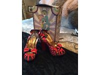 Irregular choice red polka dot sandals immaculate condition only worn once still in box