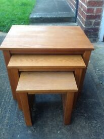 3 small matching tables