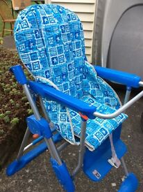 Blue and white high chair