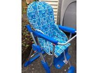 Blue and white high chair