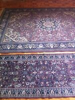 Synthetic silk runner and rug carpet tapis excellent condition!