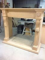 Wood mantel & fireplace surround