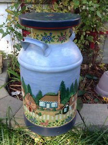 Antique metal creamery cans - hand-painted