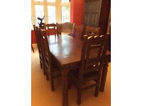 Vintage Solid wood dining table and six chairs