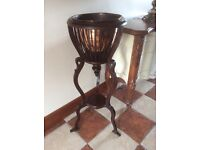 Antique rare large plant stand with original copper insert mint