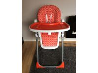 Mothercare red circles high chair