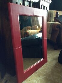 Red Leatherette Mirror