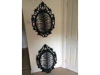 2 x Black decorative frames with zebra print wallpaper inserts