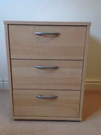 Ikea, 3 drawer bedside unit. Pre-loved