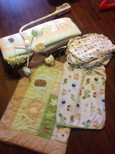 Owl, Turtle and Elephant crib bedding set