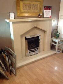 Plain Gothic III Complete Coral Cream Micromarble Fireplace