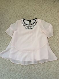 Pale pink beaded chiffon top from next
