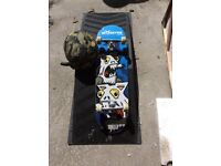 Skate board, ramp and helmet