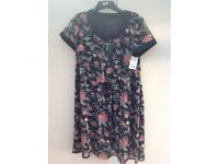 Ladies size 18 Black Patterned Chiffon Dress (still labelled)