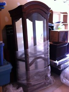 ANTIQUE Wood Glass Curio with lights and glass shelves