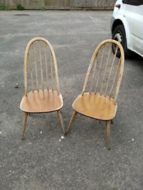 2 X ercol Quaker vintage retro dining chairs model no.365