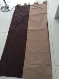 Fully Lined Caramel/Tan Coloured Curtains with Brown Detail 5ftx6ft