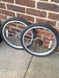 Set of 20 inch wheels , for geared bike.