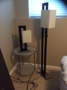 Lamps, Drapes, Pillows, Side Table