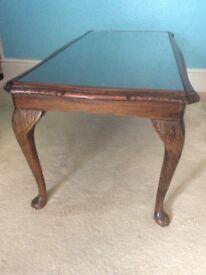 Antique glass top Queen Anne legs fabulous detail solid oakwood