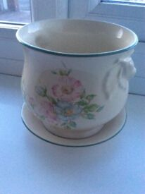 Edwardian lady plant pot and saucer