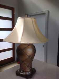 Large Antiqued Gold colored Table lamps (2)