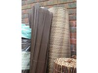 Artificial rattan weave in browns 2m high x 3m long