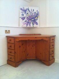 Solid pine corner desk or dressing table