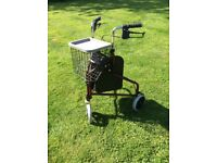 3 wheel walking aid with basket