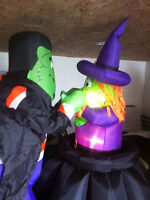 inflatable witch and frankenstein lawn decoration