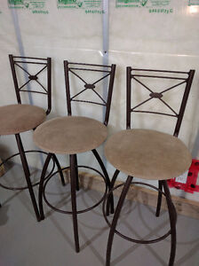 Metal and suede bar stools