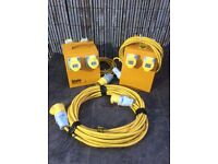 Defender 4 way 110v splitter boxes and extension lead