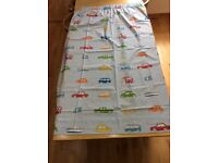 Pair of boys vehicle curtains with tie backs and cushion covers