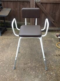 Perching stool, adjustable height with padded seat and back