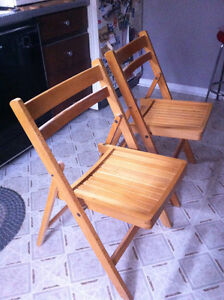 1970's wooden folding chairs - excellent condition hardly used