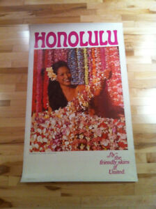 Vintage Travel Poster United Airlines Hawaii 1967 Honolulu