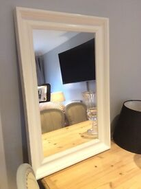 IKEA gloss white wooden wall mirror
