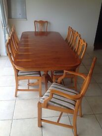 Yew Dining Table with 8 chairs